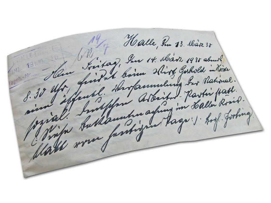 Antrag auf Genehmigung einer Veranstaltung: Erste NSDAP-Versammlung 1930 in Hörste bei Halle/Westfalen am 14. März 1930