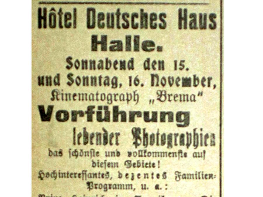Filmgeschichte Lebende Photographien - Erste Filmvorführung in Halle Westfalen.