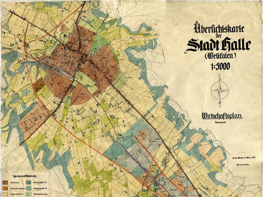 Die Übersichtskarte zeigt den Wirtschaftplan 1941 für Halle/Westfalen.