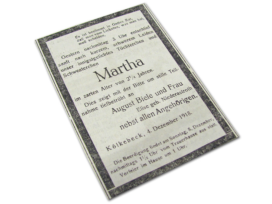 Spanische Grippe Dezember 1918, Todesanzeige für ein kleines Mädchen (Martha Biele, Kölkebeck) aus Halle Westfalen. Haller Kreisblatt.