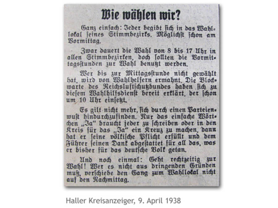 Haller Kreisanzeiger vom 9. April 1938: Wie wählen wir?