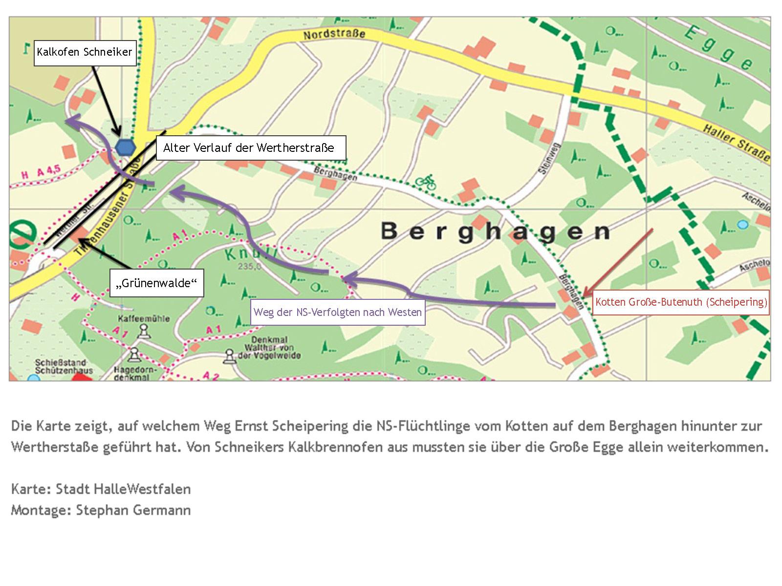 Karte des Fluchtweges NS-Verfolgter über den Teutoburger Wald bei Ascheloh (Halle/Westfalen)