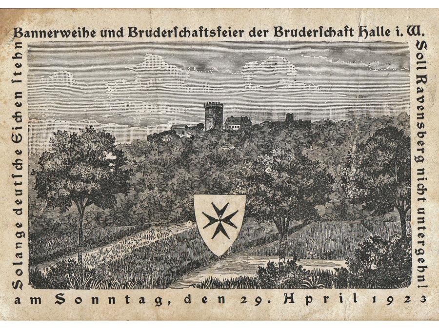 Jundeutscher Orden, Bruderschaftsfeier in Halle Westfalen 1923, Postkarte, Leihgabe von Familie Thomas.