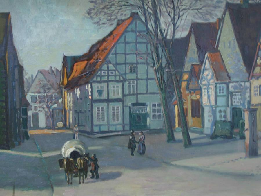 Lindenplatz in Halle, heute B 68. Unbekannter Maler.