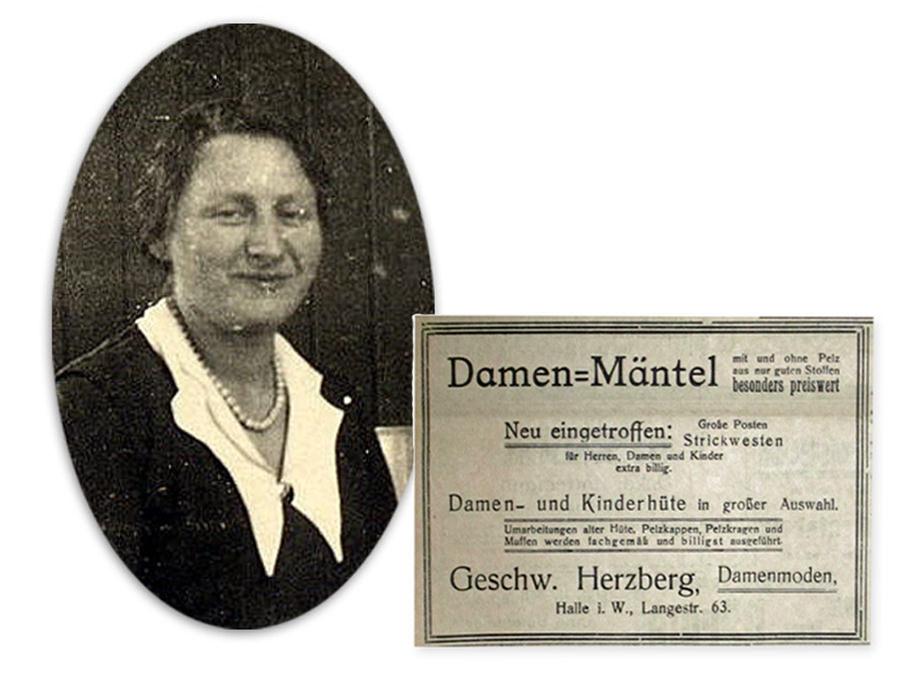 Ida Herzberg Damenmoden. Foto und Inserat um 1928. Boykott jüdischer Geschäfte im April 1933.