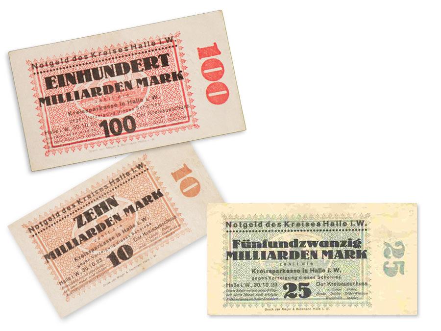 Notgeld Kreis Halle Westfalen 30. Oktober 1923. Leihgabe von Martin Wiegand.