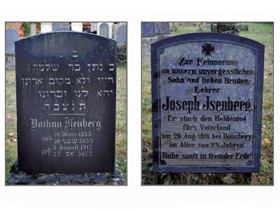 Grabsteine von Nathan und Joseph Isenberg, jüdischer Friedhof in Halle/Westfalen. Foto: Wolfgang Kosubek.