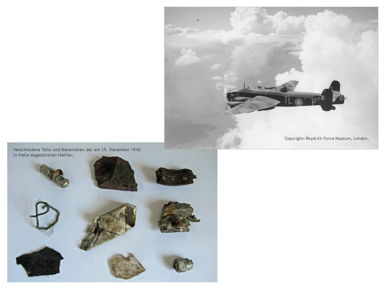 Trünnes des am 29. Dezember 1943 in Halle abgestürzten Halifax-Bombers. Haller ZeitRäume.