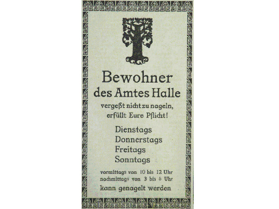 Aufruf zur Kriegsnagelung im Haller Kreisblatt am 13. Oktober 1915. Leihgabe des Haller-Kreisbaltt-Archivs.