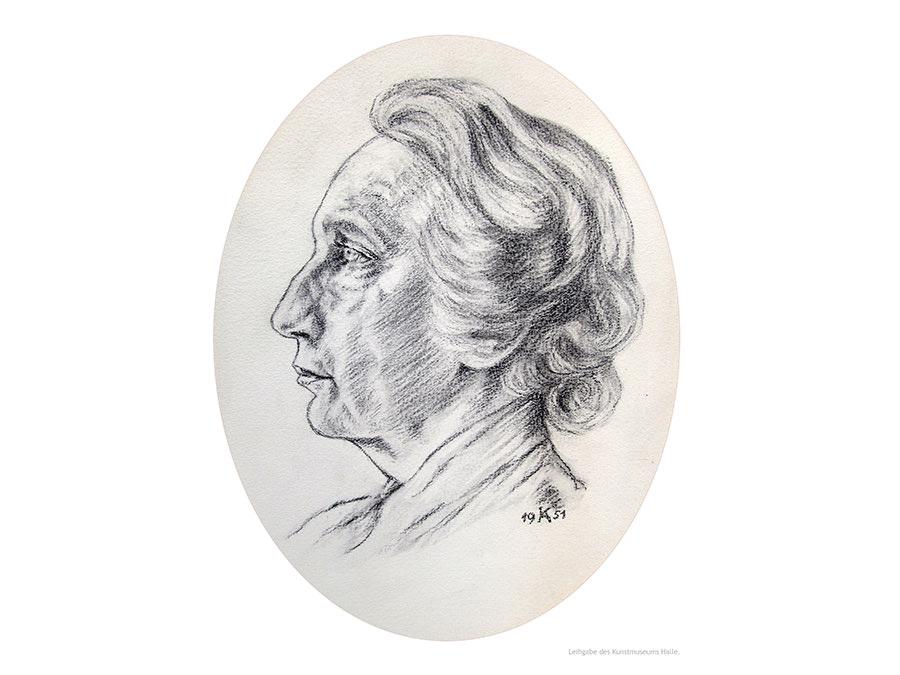 Sonderausstellung Haller Persönlichkeiten, Kohlezeichnung Margarete Windthorst