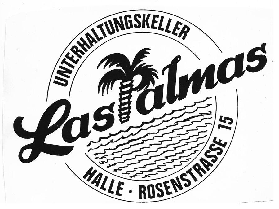 """Logo des """"Unterhaltungskellers"""" Las Palmas in Halle/Westfalen auf einem Aufkleber. Leihgabe von Karl-Heinz Möller."""