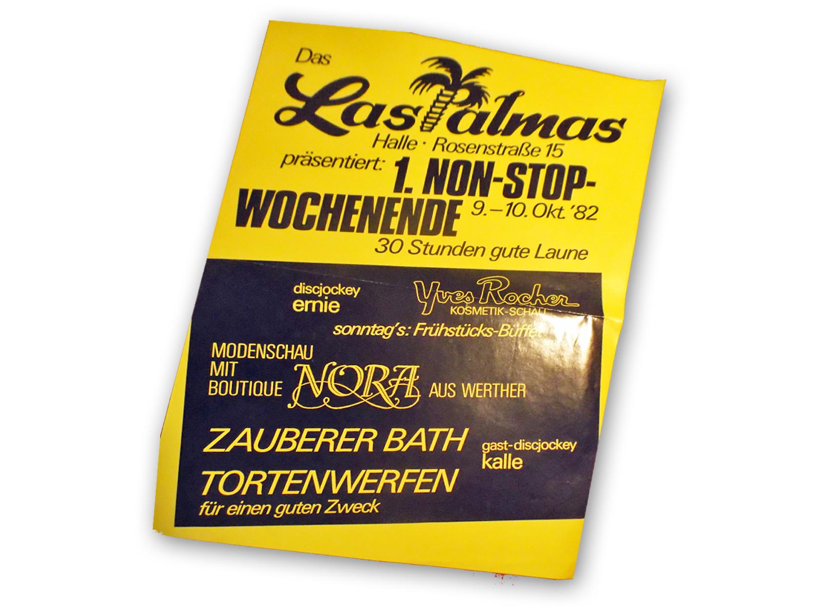 """Plakat des """"Unterhaltungskellers"""" Las Palmas in Halle/Westfalen Leihgabe von Karl-Heinz Möller."""