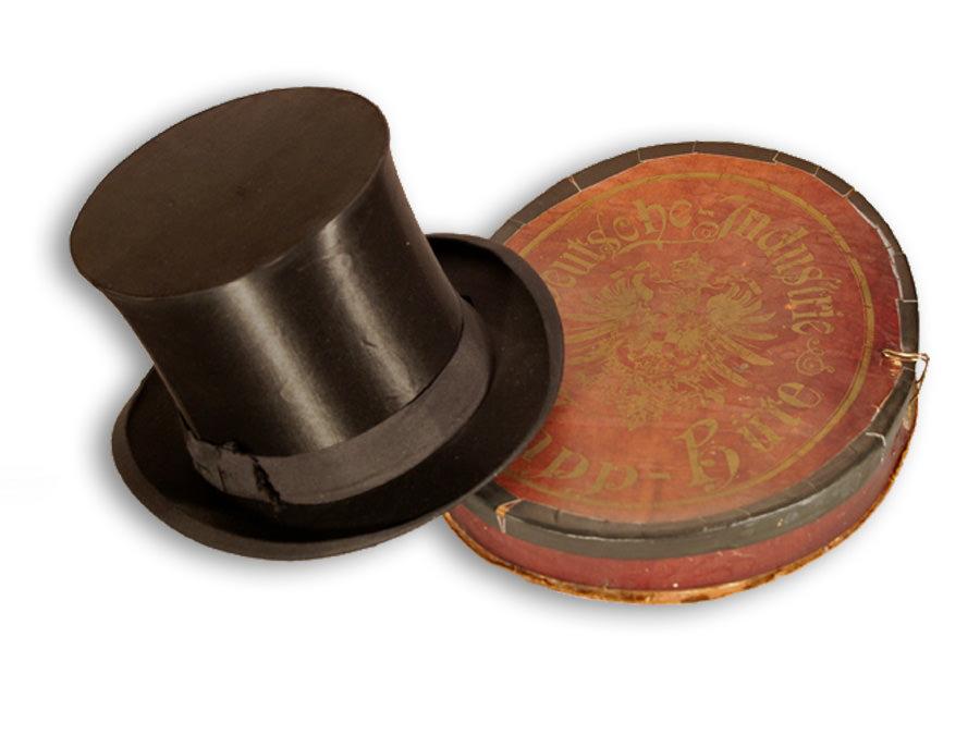 Zylinder Chapeau claque, Satin, Draht, Karton, 1900-1910, Leihgabe aus Privatbesitz