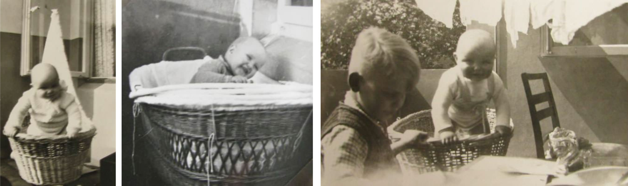 Ein Nest fürs erste Lebensjahr - Uwe Schürmann in seinem Weidenkorb um 1933. Fotos: Leihgabe von Ekkehard Schürmann.