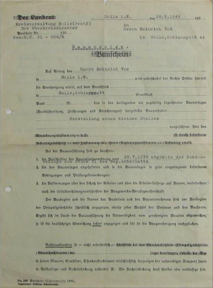 Bauschein für die Herstellung eine kleinen Stalles 1946, Leihgabe von Wolfgang Voß.